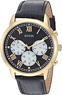 GUESS Men's Stainless Steel Analog Quartz Watch with Leather Calfskin Strap, Black, 21.8 (Model: U1261G3)