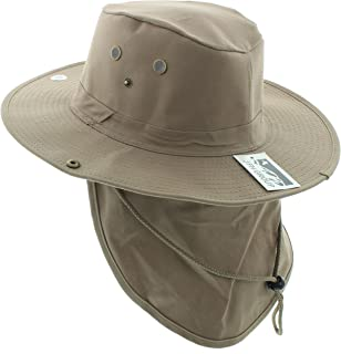 JFH Wide Brim Bora Booney Outdoor Safari Summer Hat w/Neck Flap & Sun Protection