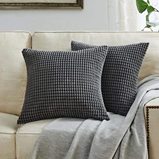 BEBEN Throw Pillow Covers - Set of 2 Pillow Covers 18x18, Decorative Euro Pillow Covers Corn Striped, Soft Corduroy Cushion Case, Home Decor for Couch, Bed, Sofa, Bedroom, Car (Grey, 18X18)