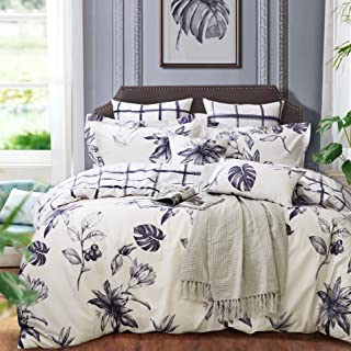 Softta White Black Floral Printed Duvet Cover Set 100% Cotton Double-Sided Design Tropical Plants Monstera Pattern (Grid B), Twin, Leaf 3 Pieces