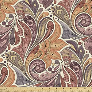 Ambesonne Floral Fabric by The Yard, Traditional Paisley Leaf Pattern with Persian Details Colorful Boho Design, Decorative Fabric for Upholstery and Home Accents, 3 Yards, Orange Mauve