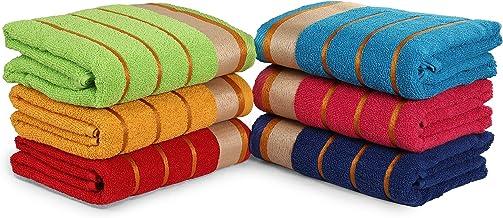 مناشف حمام مصنوعة من القطن 100%، مجموعة من 6 قطع، 3 خطوط فائقة الامتصاص، مقاس (68.58 × 137.16 سم)، لون عشوائي