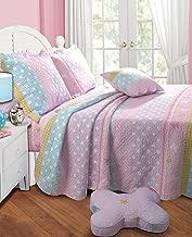 Greenland Home Polka Dot Stripe Quilt Set, Queen, Pink