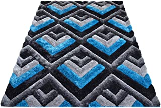 3D Contemporary Super Soft Polyester Fiber Area Shaggy Rugs for Living Room Bedroom Rug Mats Home Decor (2.5 x 3.5, Turquoise/Black)