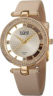 Burgi Swarovski Crystal Studded Watch - 4 Genuine Diamond Markers, See Through and Sunray Dial On Satin Over Leather Women's Watch - BUR104