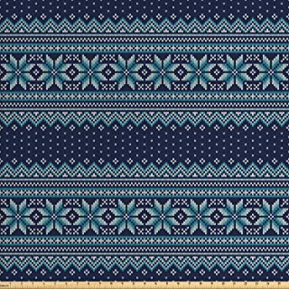 Ambesonne Nordic Fabric by The Yard, Knitted Pattern with Chevron Herringbone Abstract Snowflake, Decorative Fabric for Upholstery and Home Accents, 1 Yard, Turquoise Blue