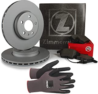 Inspektionspaket Zimmermann Bremsen Set inkl. Bremsscheiben Ø 280 mm und Bremsbeläge für vorne, 100% passend für Ihr Fahrzeug, inkl. Priner Montagehandschuhe, AN138