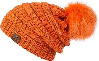 PAGE ONE Womens Fleece Lined Slouchy Confetti Beanie Chunky Baggy Hat Fur Pom Pom Winter Soft Warm Cap
