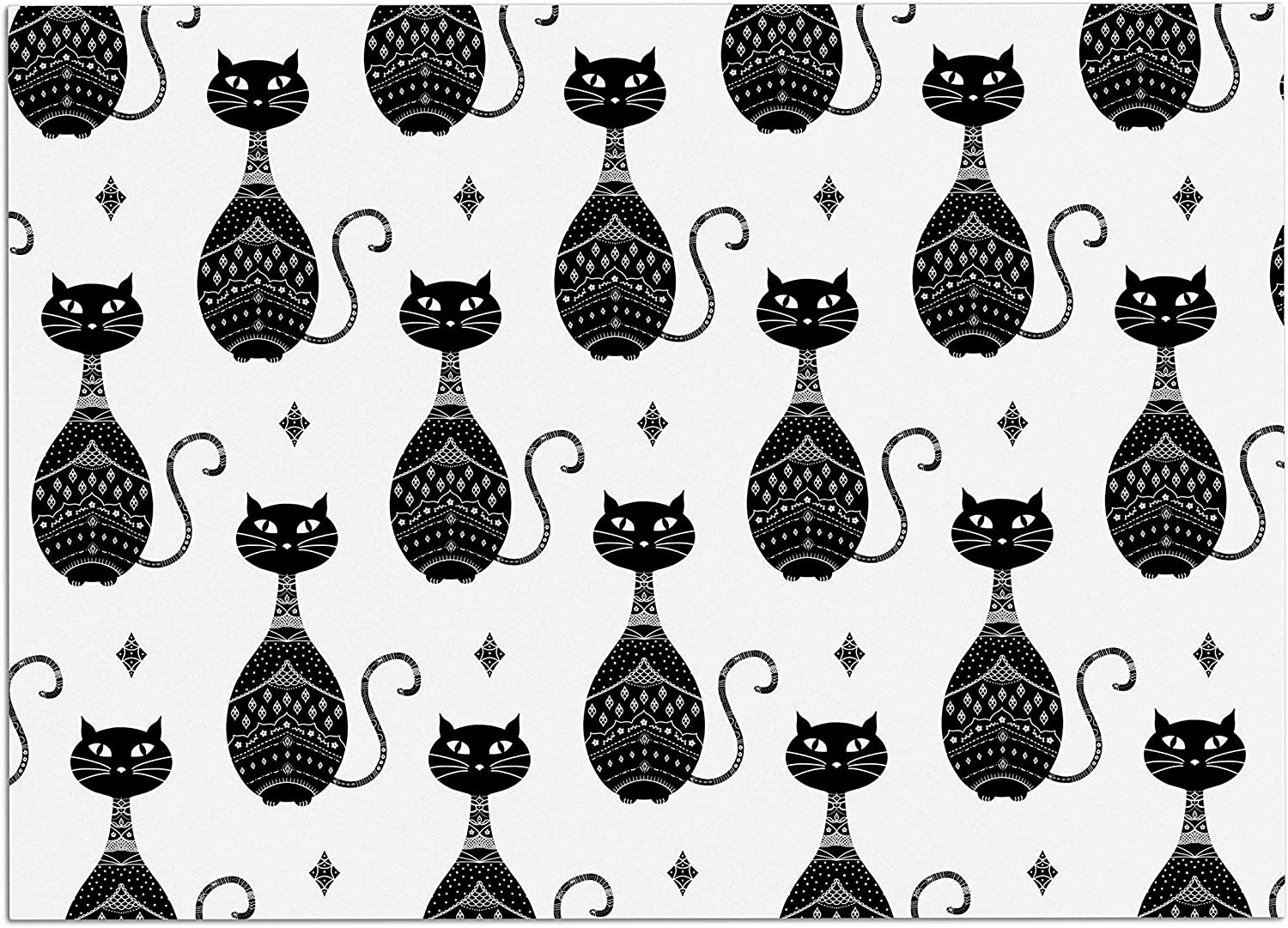 KESS InHouse CB2022ADM02 Cristina Bianco Design Black Cats Pattern White Black Dog Place Mat, 24 x15