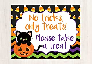 Halloween Porch Decorations, Halloween Sign, No Tricks Only Treats Please Take A Treat, Help Yourself Sign, Halloween Porch Sign, Trick or Treat Sign, Glossy 8x10 Sign, Frame is not included