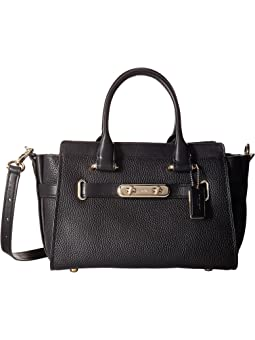 코치 스웨거 캐리올 COACH  Swagger Carryall 27 In Pebble Leather,LI/Black