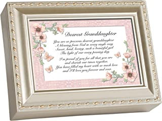 Cottage Garden Dearest Granddaughter Champagne Silver Traditional Music Box Plays Light Up My Life