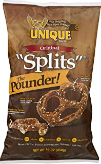 Unique Pretzels - Original Splits Pretzels, Delicious Vegan Snack Pretzels Individual Packs, Large OU Kosher Pretzels, 16 Ounce Bags, 12 Pack