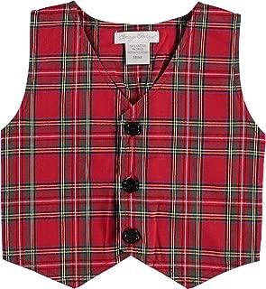 Boys Plaid Party Red Vest
