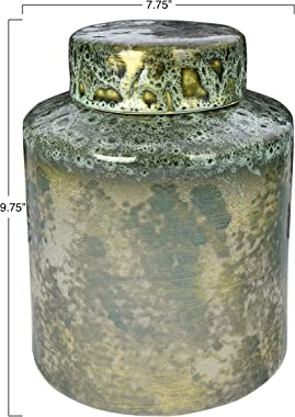 """Creative Co-Op 9.75"""" H Decorative Stoneware Lid & Iridescent Reactive Glaze Finish (Each one Will Vary) Ginger Jar, G"""