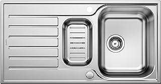 BLANCO LANTOS 6 S - Edelstahlspüle für 60 cm breite Unterschränke für die Küche - Mit Ablauffernbedienung - Leinen Optik - 514014