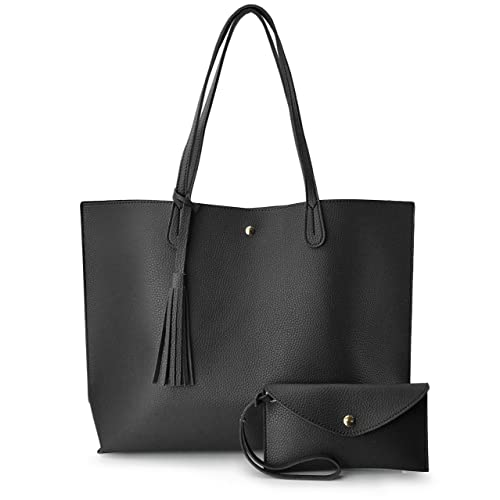 cd47192ea Minimalist Clean Cut Pebbled Faux Leather Tote Womens Shoulder Handbag