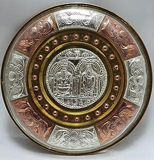 JLine Arts Balaji Padmavathi 8 Inches Thanjavur Art Plate Metal Art with Wall Hanging
