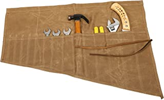 ChengYi Multi-Purpose Wrench Roll Waxed Canvas Tools Roll Organizer Water Resistant Tool Roll Pouch for Handymen Plumber Craftsmen DIY Fun Enthusiast CYDD05 Khaki