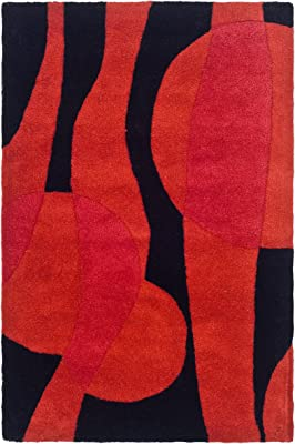 Safavieh Soho Collection SOH755A Handmade Black and Red Premium Wool Area Rug (2' x 3')