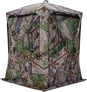 Barronett BL300BW Blockout 300 Ground Hunting Blind, 3 Person Pop Up Portable, Backwoods Camo