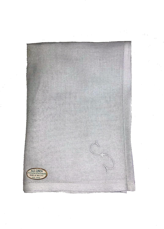 White Irish Made Linen Men's Handkerchief With Name initials(16x16) 6 Pack