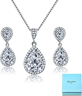 AMYJANE Elegant Jewelry Set for Women - Silver Teardrop...