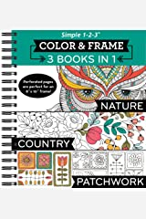 Color & Frame Coloring Book - 3 in 1 - Nature, Country, & Patchwork Spiral-bound