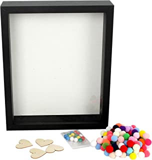 DiamondDec Shadow Box Frame Display Case 8x10 Black with Soft Linen Back, 3-D Wood Deep Large Shadowbox Picture Frame for Wedding Memorabilia, Adventure Tickets, Medals, Travel Keepsake and more