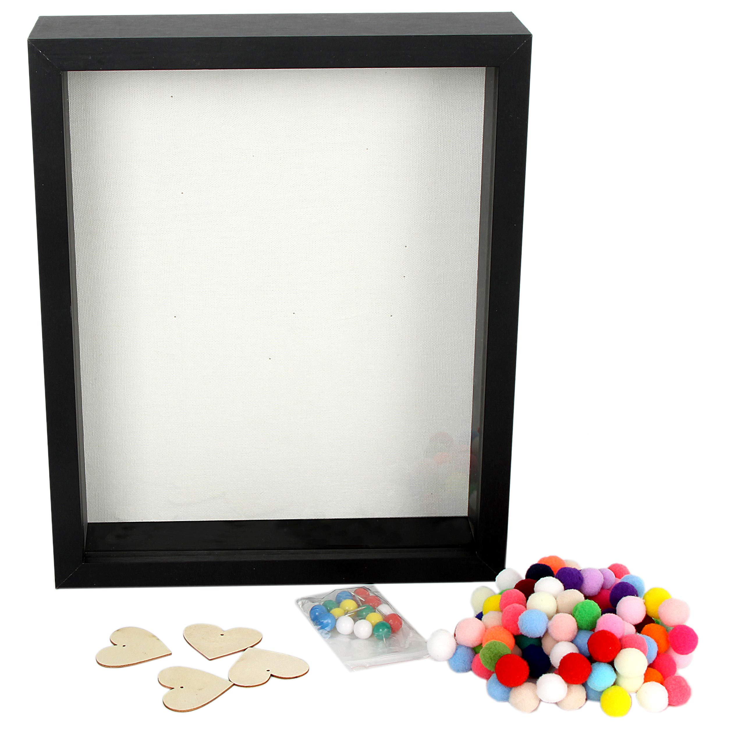 """Black 16/"""" x 20/"""" Shallow Front-Load Display Shadow Box Collectible Case Military"""