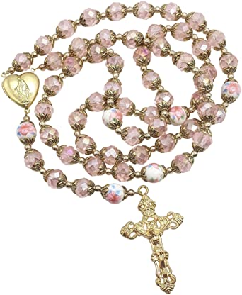 Nazareth Store Catholic Pink Crystal Beads Gold Rosary Flowers Beaded Necklace Holy Mary Heart Locket Medal & Cross Religious Amulet for Women
