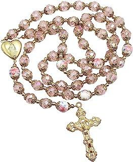 Nazareth Store Catholic Pink Crystal Beads Gold Rosary Flowers Beaded Necklace Holy Mary Heart Locket Medal & Cross Religi...