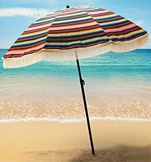 beachBRELLA Beach Umbrella, with Fringe and Shoulder Strap Bag, 100% UV Sun Protection, Lightweight, Portable & Easy to Setup in The Sand and Secure in The Wind (Las Brisas)