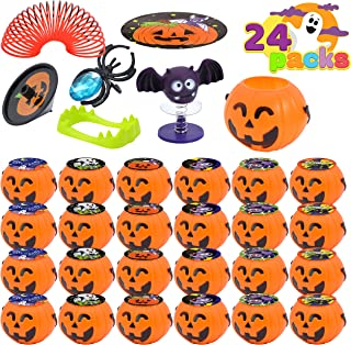 JOYIN 120 Pcs Halloween Game Toy Gifts for Kids, 24 Pack Prefilled Mini Pumpkin Buckets with Halloween Toy Spider Rings, P...