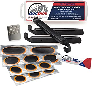 Best RocRide 16-PC Inner Tube Patch Bicycle Repair Kit. Also for Inflatable Dinghies, ATVs, BMX and Motorcycles. Review