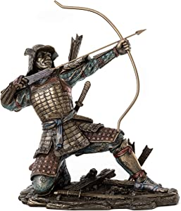 Top Collection Japanese Samurai Archer Statue - Yayoi Bushido Solider Sculpture in Premium Cold Cast Bronze - 8.5-Inch Collectible Figurine