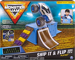 Monster Jam Ship It & Flip It Transforming Playset with 1:64 Die-Cast Truck
