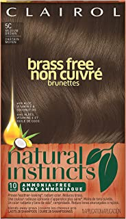 Clairol Natural Instincts Semi-Permanent Hair Color (Pack of 3), 5C Brass Free Medium Brown Color, Ammonia Free, Lasts for 28 Shampoos