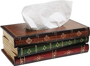 Cubierta de la caja del dispensador de tejidos faciales del baño de madera de diseño de libro antiguo, novedoso soporte pa...