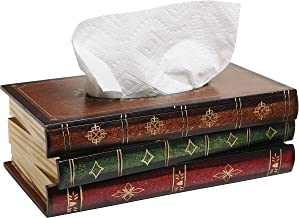 MyGift Antique Book Design Wood Bathroom Facial Tissue Dispenser Box Cover/Novelty Napkin Holder