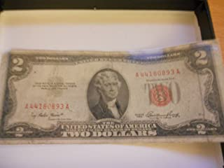 1953 Red Letter 2 Dollar Bill