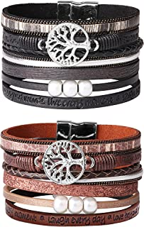 Jstyle 2Pcs Bohemian Leather Cuff Bracelet Set for Women Girls Multilayer Tree of Life Wrap Bangle Bracelets Set Gift for Wife Girlfriend Mother