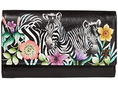 Anuschka Handbags Triple Fold RFID Clutch Wallet 1150 (Playful Zebras) Bags