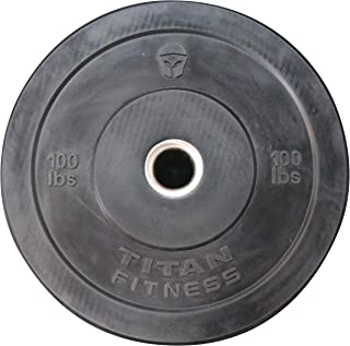 Titan Olympic Rubber Bumper Plate   Black   100 LB   Single