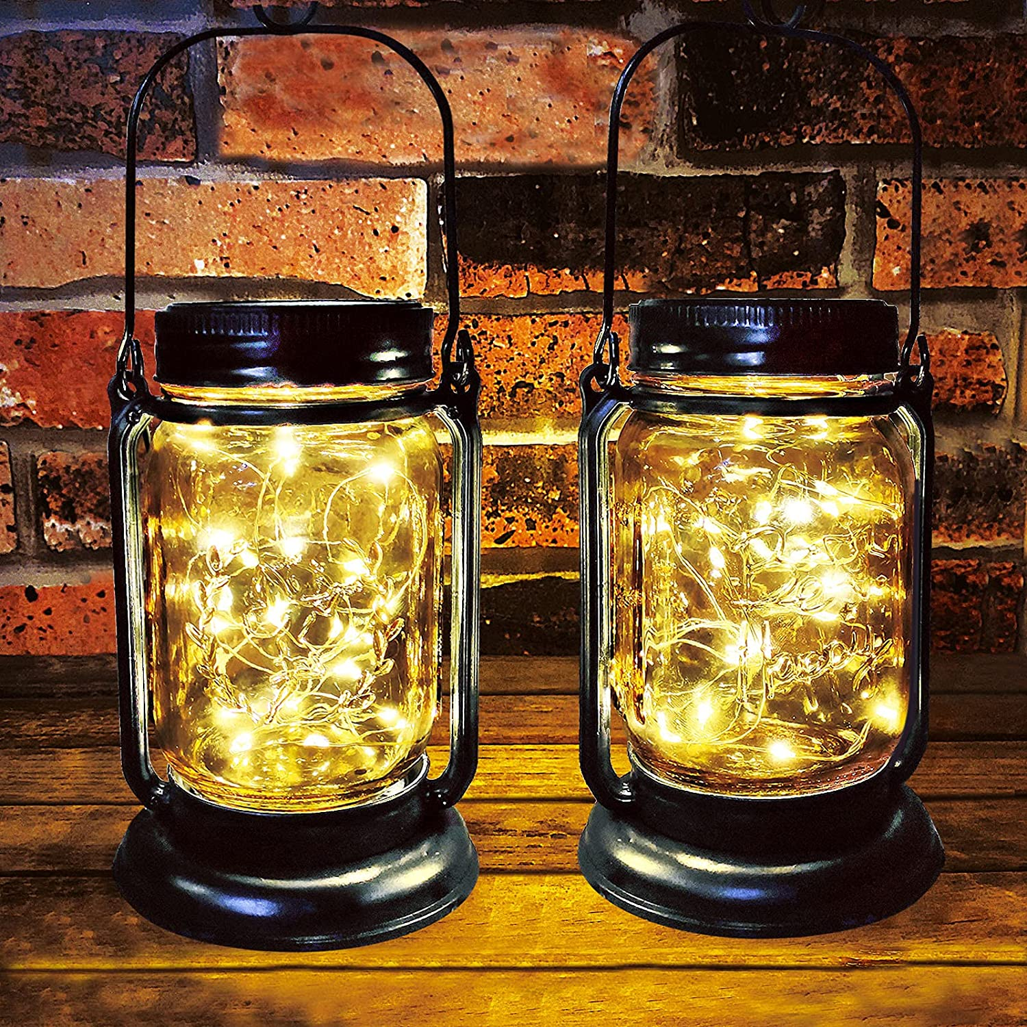 Outdoor Solar Lanterns,Hanging Lights Outdoor,Garden Decorations Patio Decorations Solar Powered Waterproof 30 LED Glass Jar Lights for Party, Courtyard, Patio,Tabletop Decorations (2Pack): Home Improvement
