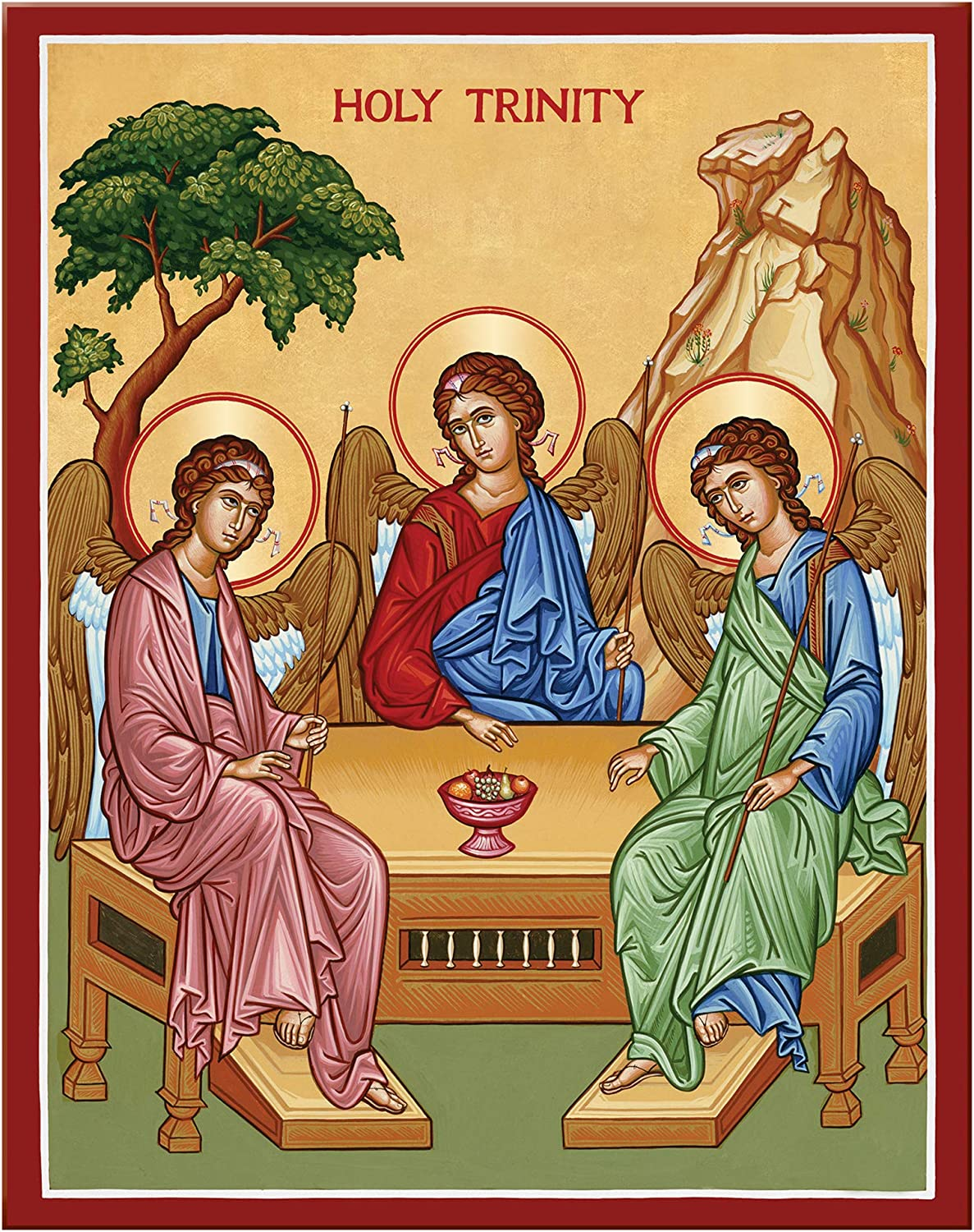 Monastery Icons Cheap bargain Holy Trinity Rublev Mounted Max 77% OFF Plaque Icon Style