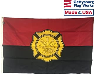 3x5' Fireman Remembrance Flag, Durable All-Weather Nylon with grommets for Outdoors, Made in USA