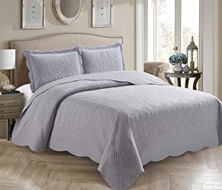 Better Home Style 3 Piece Luxury Ultrasonic Embossed Solid Color Quilt Coverlet Bedspread Oversized Bed Cover Set # Veronica (Full/Queen, Light Grey)