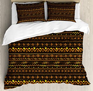 Ambesonne African Duvet Cover Set, Chevron Zigzag Circles and Spirals Timeless Vintage Art Design Oriental Doodle, Decorative 3 Piece Bedding Set with 2 Pillow Shams, Queen Size, Brown Yellow