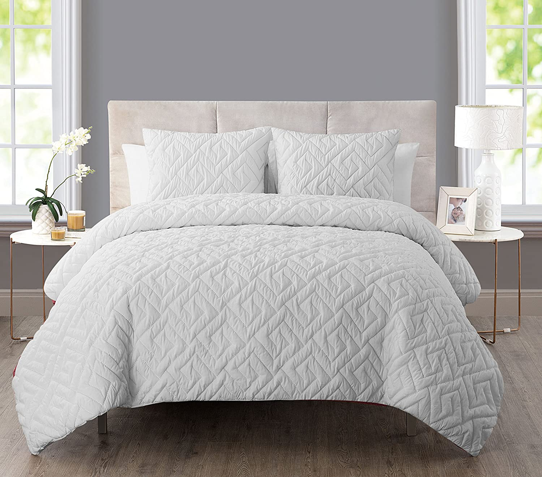VCNY Home Artemis 2 Piece Comforter Set, Twin, White